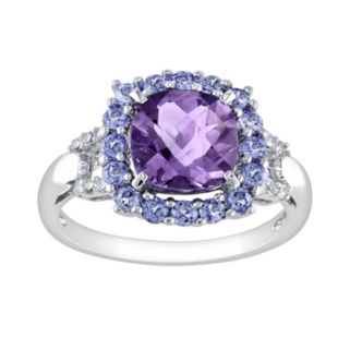 Sterling Silver Amethyst, Tanzanite and Diamond Accent Frame Ring
