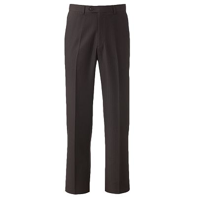 Haggar Herringbone Striped Flat-Front Suit Pants