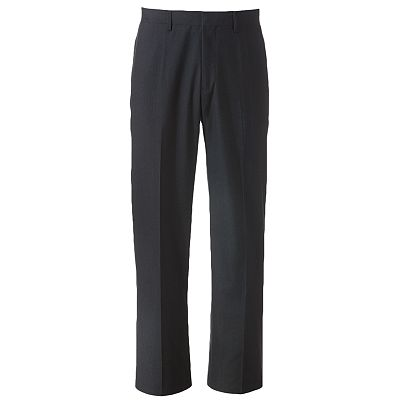 Haggar Straight-Fit Micro-Grid Flat-Front Suit Pants