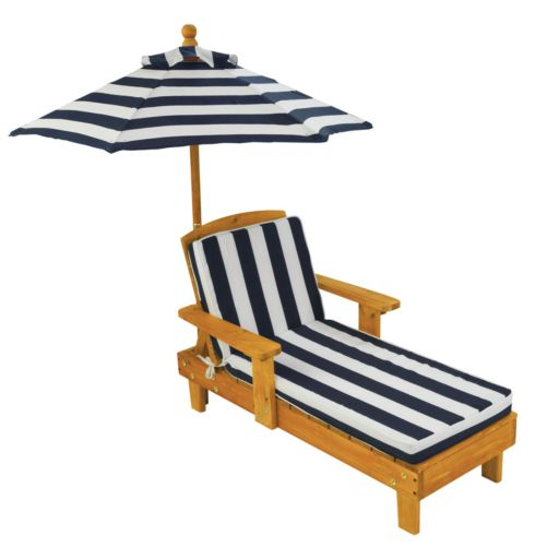 KidKraft Striped Outdoor Chaise and Umbrella Set