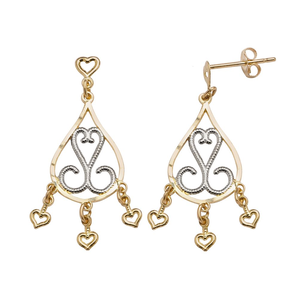 10k Gold Two Tone Filigree Teardrop Earrings