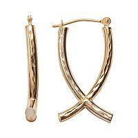 14k Gold Two Tone Crisscross Drop Earrings