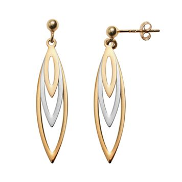 14k Gold Two Tone Marquise Drop Earrings