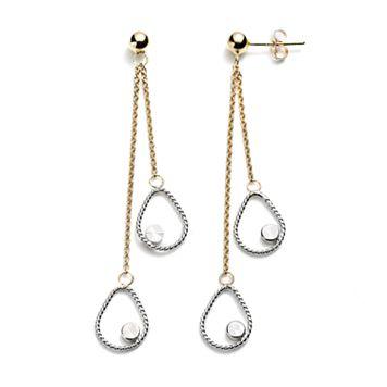 14k Gold Two Tone Drop Earrings