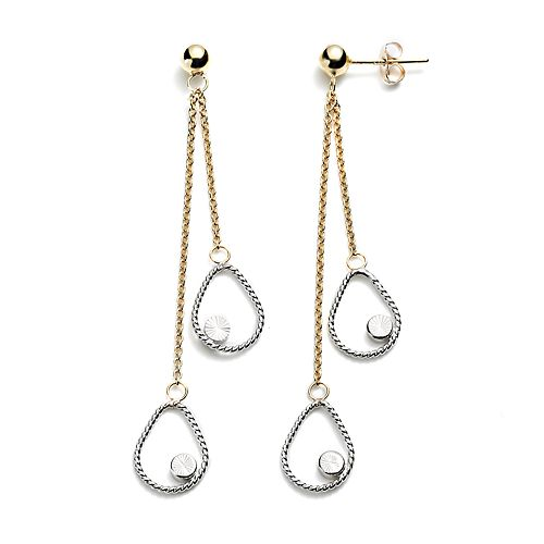 14k Gold Two Tone Drop Earrings