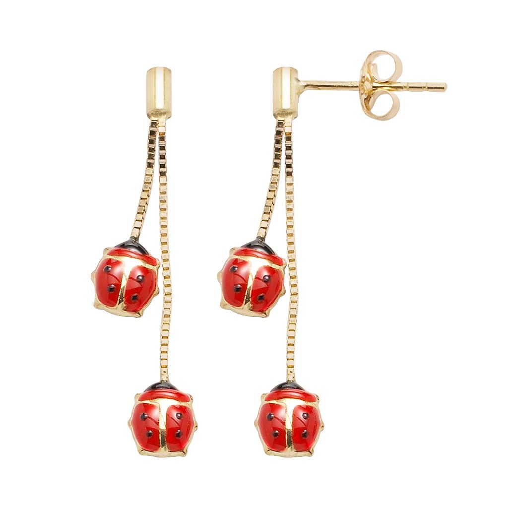 14k Gold Ladybug Drop Earrings