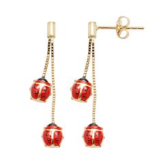14k Gold Ladybug Drop Earrings