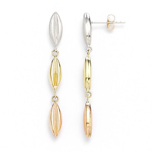 14k Gold Tri-Tone Marquise Bead Linear Drop Earrings
