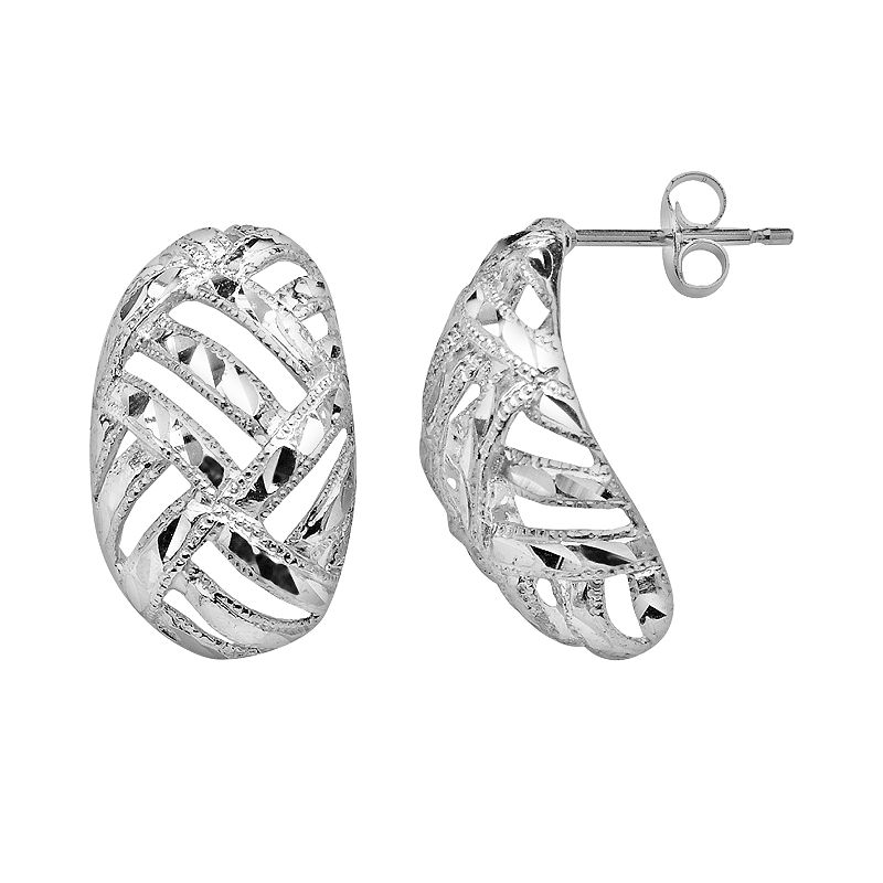 White Gold Filigree Hoop Earrings 14k White Gold Woven j Hoop