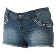 Angels Rhinestone Frayed Denim Shortie Shorts - Juniors