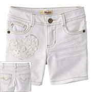 Mudd Crochet Heart Denim Midi Shorts - Girls 4-6x