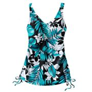 Croft and Barrow Tummy Slimmer D-Cup Leaf Underwire Tankini Top