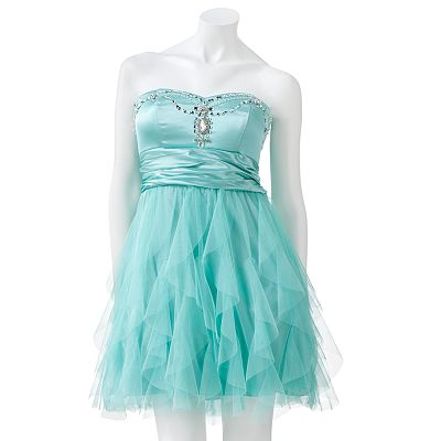 My Michelle Rhinestone Tulle Strapless Dress - Juniors