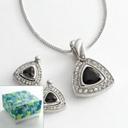 Silver Tone Simulated Crystal Triangle Pendant and Stud Earring Set