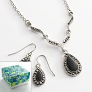 Silver Tone Marcasite Teardrop Y Necklace and Earring Set