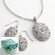 Silver Tone Marcasite Filigree Oval Pendant and Drop Earring Set