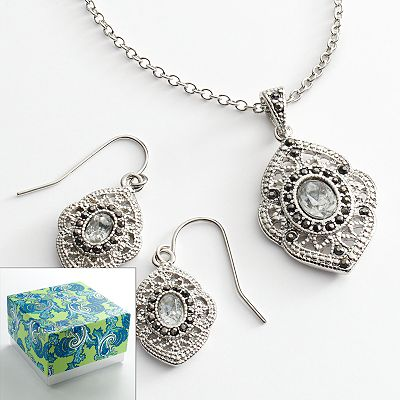 Silver Tone Marcasite Filigree Pendant and Drop Earring Set