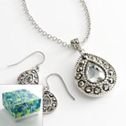 Silver Tone Marcasite Filigree Teardrop Pendant and Earring Set