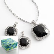 Silver Tone Simulated Crystal Pendant and Drop Earring Set