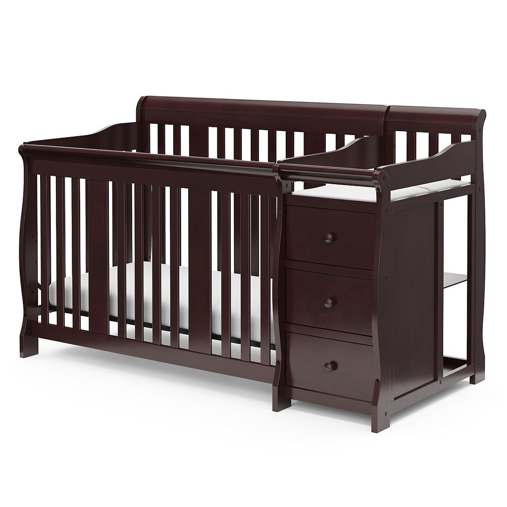 Stork Craft Portofino 4-in-1 Fixed Side Convertible Crib Changer