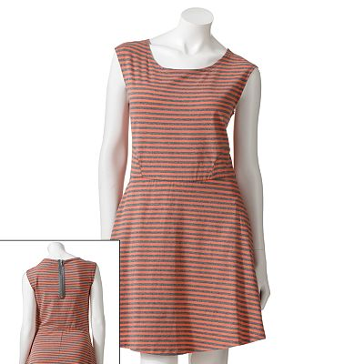 Speechless Striped Fit and Flare Dress - Juniors