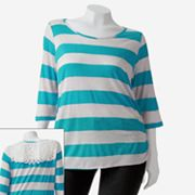 Eyelash Striped Lace Back Top - Juniors' Plus