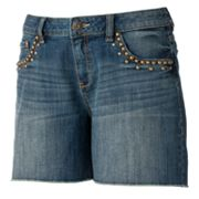 Apt. 9 Frayed Embellished Denim Shorts