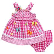 Youngland Butterfly Seersucker Dress - Newborn