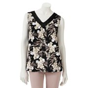 Croft and Barrow Printed Crochet-Trim Top