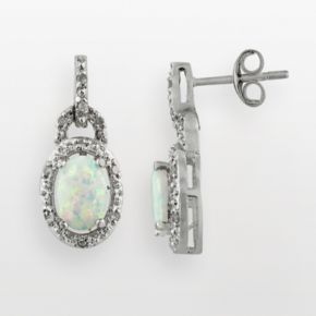 Sterling Silver Lab-Created Opal and Diamond Accent Frame Drop Earrings