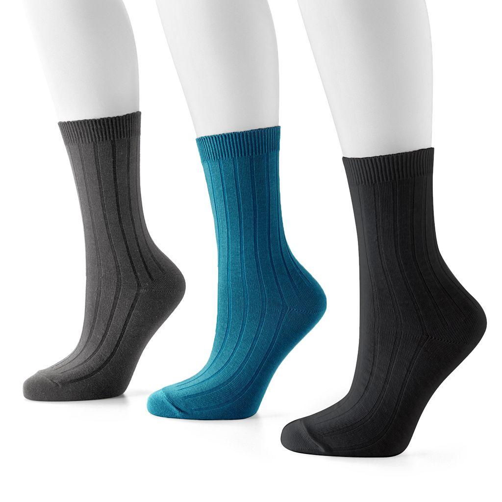 SONOMA Goods for Life™ 3-pk. Ribbed Crew Socks