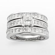 14k White Gold 2 3/4-ct. T.W. IGL Certified Princess-Cut Diamond Ring Set