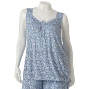 Croft and Barrow Midnight Blue Floral Pajama Tank - Women's Plus