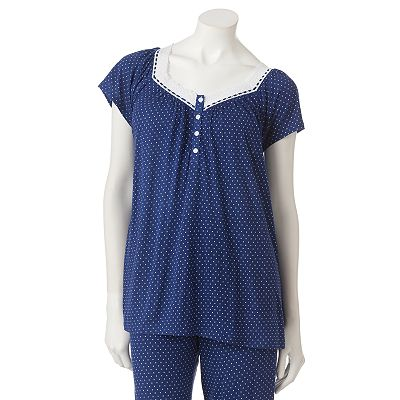 Croft and Barrow Midnight Blue Dot Pajama Top - Women's Plus