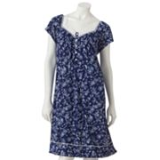 Croft and Barrow Midnight Blue Floral Nightgown