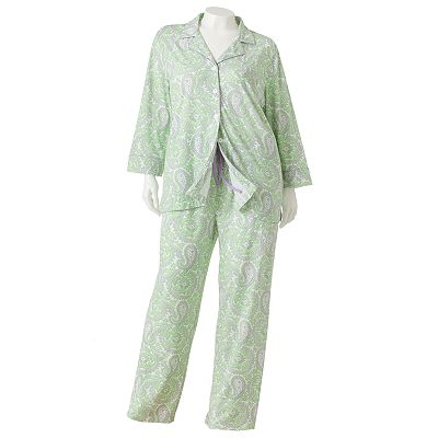 Chaps Summerton Piped Pajama Set - Women's Plus
