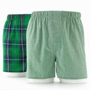 Croft and Barrow 2-pk. Plaid and Striped Woven Boxers