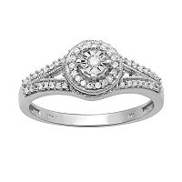Round-Cut Diamond Engagement Ring in 10k White Gold (1/5 ct. T.W.)