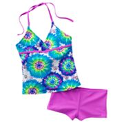 SO Tie-Dye Halterkini and Shorts Swimsuit Set - Girls 7-16