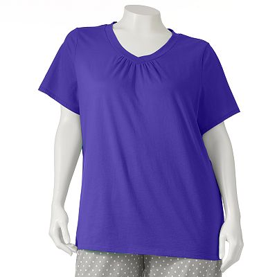 Croft and Barrow Mix and Match Shirred Pajama Tee - Women's Plus