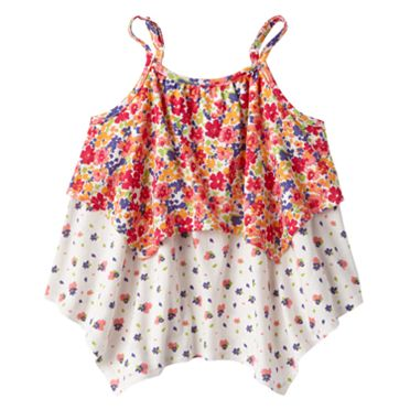 Mudd Floral Tiered Shark-Bite Tank - Girls 4-6x