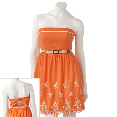 City Triangles Crochet Strapless Fit and Flare Dress - Juniors