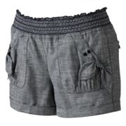 Candie's Smocked Chambray Shortie Shorts - Juniors