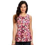 daisy fuentes Floral Pleated Peplum Top
