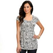 daisy fuentes Geometric Smocked Empire Top