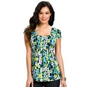daisy fuentes Floral Smocked Empire Top