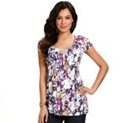 daisy fuentes Splatter Smocked Empire Top