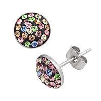 Sterling Silver Pastel Crystal Pave Stud Earrings