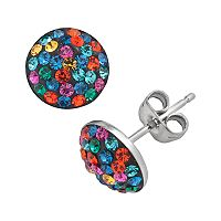 Sterling Silver Multicolored Crystal Pave Stud Earrings