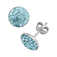 Sterling Silver Aqua Crystal Pave Stud Earrings